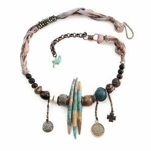 Artisan Polymer Aqua Spikes Statement Necklace
